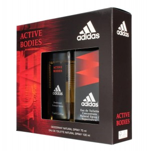 ADIDAS ACTIVE BODIES WODA TOALETOWA 100ML + DEZODORANT SPRAY 75ML